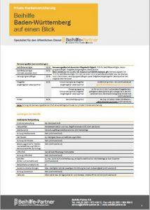 Beihilfe für Beamte in Baden-Württemberg Tabelle PDF Download Übersicht